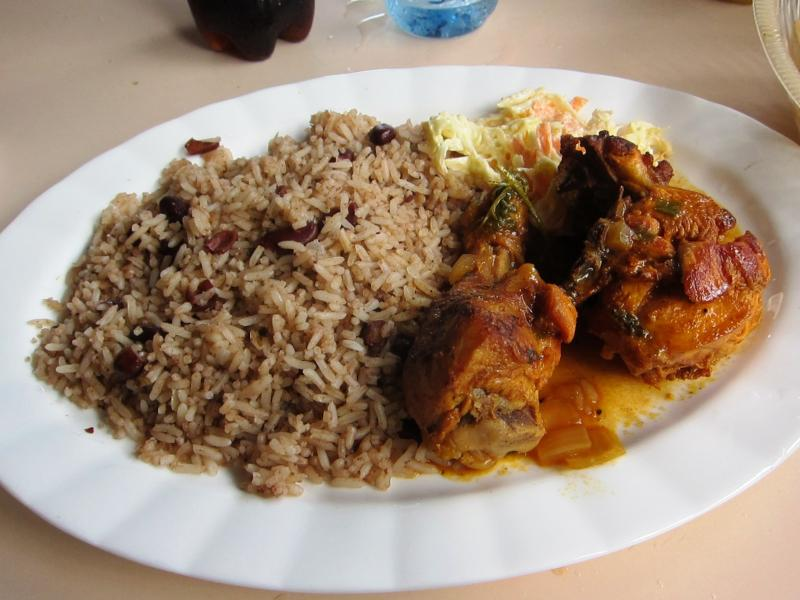 stewed beans stewed chicken and white rice
